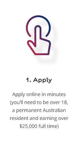 1. Apply: Apply online in minutes (you'll need to be over 18, a permanent Australian resident and earning over $25,000 full time)